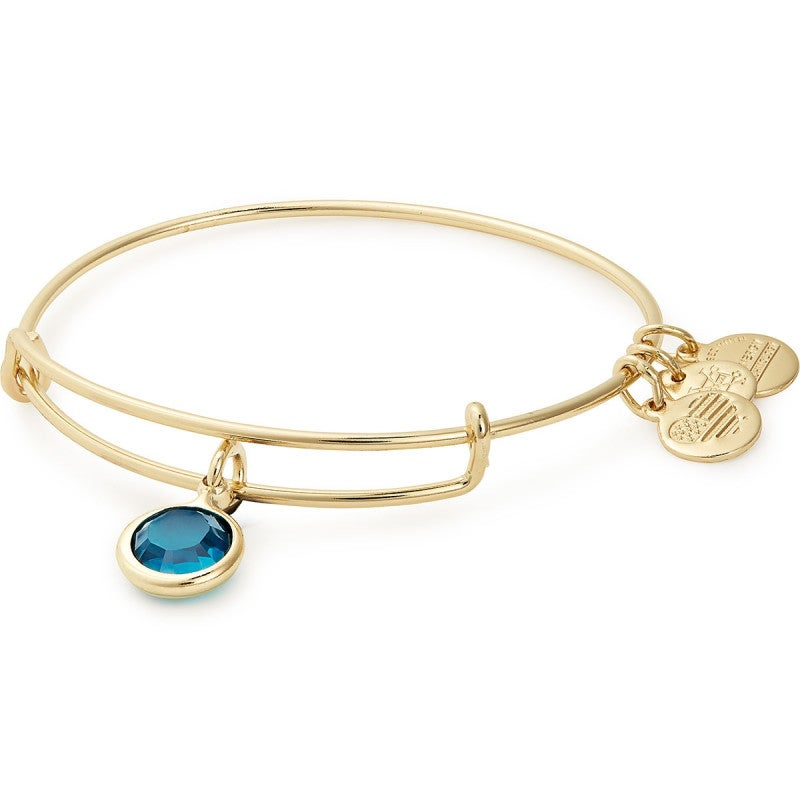 Alex and Ani - December Blue Zircon Birthstone Charm Bangle With Swarovski® Crystals Shiny Gold