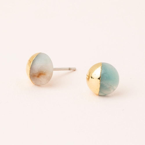 Stone Dipped Stud - Amazonite/Gold
