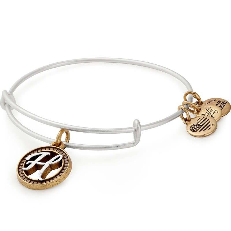 Alex and Ani Initial H II Bangle Two Tone Silver