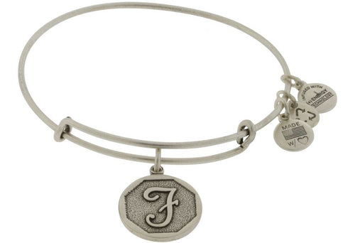 Alex and Ani Initial F Bangle Silver