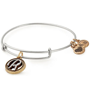 Alex and Ani Initial R II Bangle Two Tone Silver
