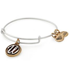 Alex and Ani Initial U II Bangle Two Tone Silver
