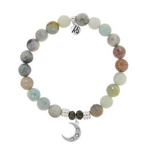 T. Jazelle Amazonite Stone Bracelet with Friendship Stars Sterling Silver Charm