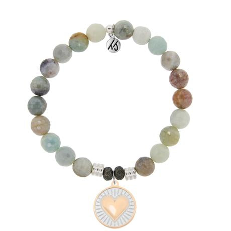 T. Jazelle Amazonite Stone Bracelet with Heart of Gold Sterling Silver Charm