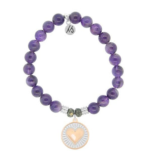 T. Jazelle Amethyst Stone Bracelet with Heart of Gold Sterling Silver Charm