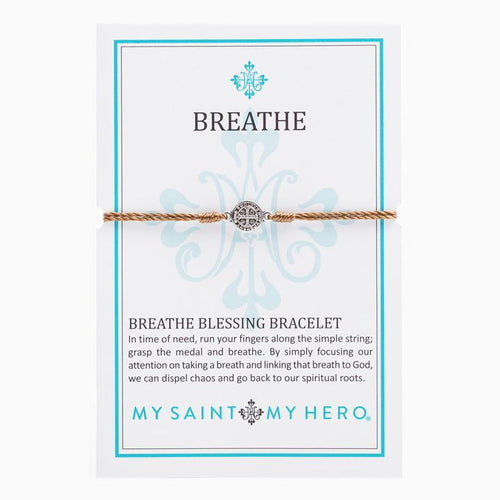 My Saint My Hero Breathe Blessing Bracelet Taupe with Silver medal
