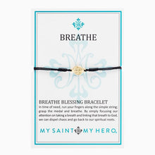 Load image into Gallery viewer, My Saint My Hero Breathe Blessing Bracelet Black with Gold medal