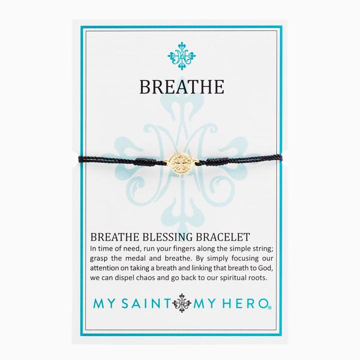 My Saint My Hero Breathe Blessing Bracelet Black with Gold medal