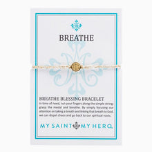 Load image into Gallery viewer, My Saint My Hero Breathe Blessing Bracelet Metallic Gold with Gold medal medal