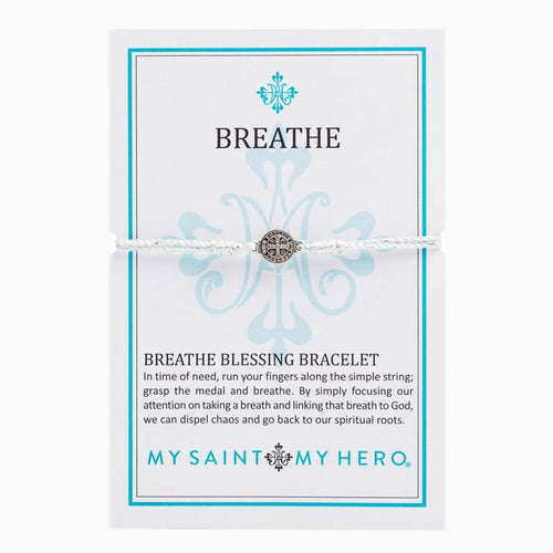 My Saint My Hero Breathe Blessing Bracelet Metallic Silver with Silver medal