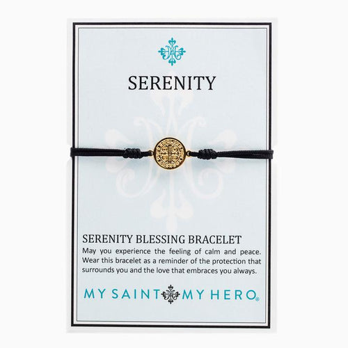My Saint My Hero Serenity Blessing Bracelet Black with Gold medal