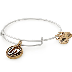 Alex and Ani Initial W II Bangle Two Tone Silver