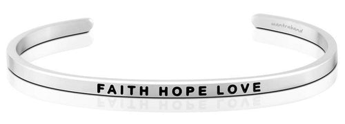 Mantraband Bracelet Faith Hope Love - Silver