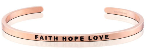 Mantraband Bracelet Faith Hope Love - Rose Gold