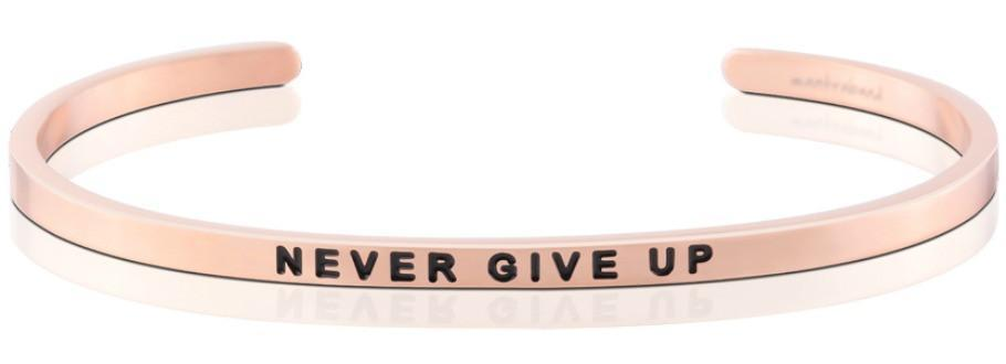 Mantraband Bracelet Never Give Up - Rose Gold