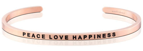 Mantraband Bracelet Peace Love Happiness - Rose Gold