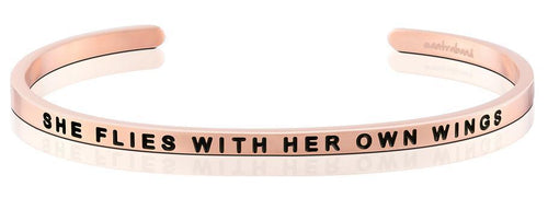 Mantraband Bracelet She Flies With Her Own Wings - Rose Gold