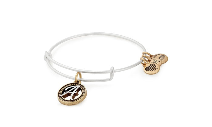 Alex and Ani Initial A II Bangle Two Tone Silver