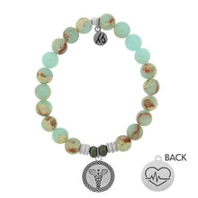 Load image into Gallery viewer, T. Jazelle Desert Jasper Stone Bracelet with Caduceus Sterling Silver Charm