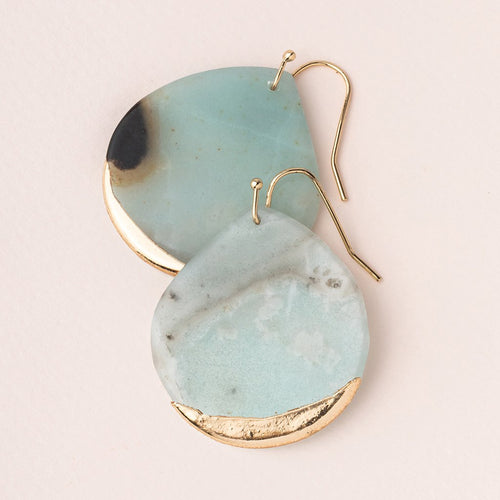 Stone Dipped Teardrop Earring - Amazonite/Gold