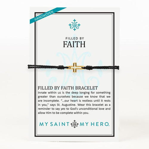 My Saint My Hero Filled by Faith Open Cross Bracelet Black with Gold