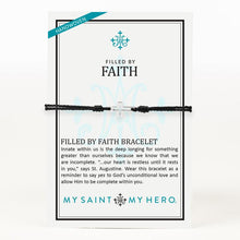 Load image into Gallery viewer, My Saint My Hero Filled by Faith Open Cross Bracelet Black with Silver