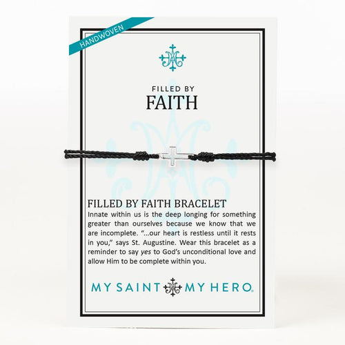 My Saint My Hero Filled by Faith Open Cross Bracelet Black with Silver
