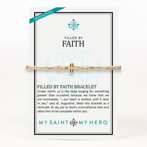 My Saint My Hero Filled by Faith Open Cross Bracelet Metallic Gold with Gold