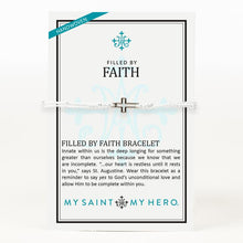 Load image into Gallery viewer, My Saint My Hero Filled by Faith Open Cross Bracelet Metallic Silver with Silver