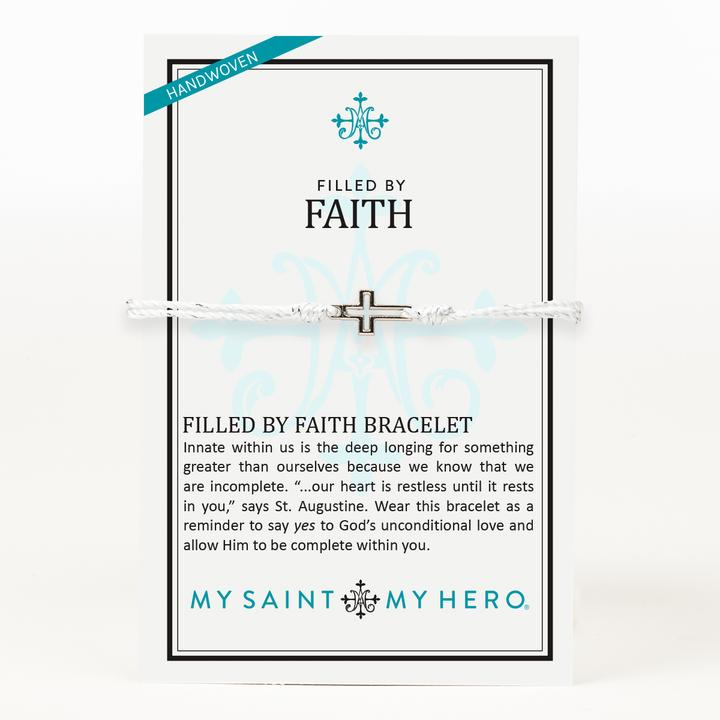 My Saint My Hero Filled by Faith Open Cross Bracelet Metallic Silver with Silver