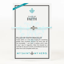Load image into Gallery viewer, My Saint My Hero Filled by Faith Open Cross Bracelet Mint with Silver