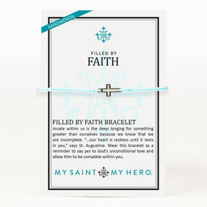 My Saint My Hero Filled by Faith Open Cross Bracelet Mint with Silver