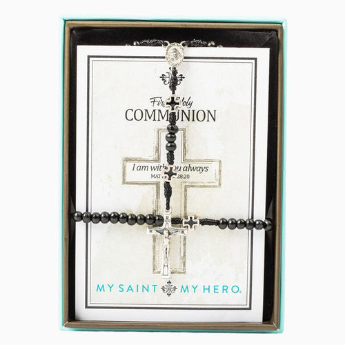 My Saint My Hero In Communion Rosary and Bracelet Set for Boys