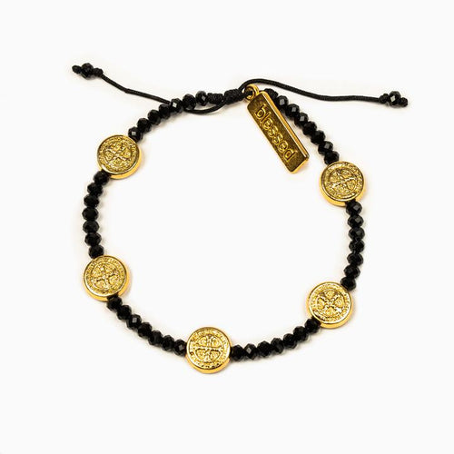My Saint My Hero Gratitude Crystal Bracelet Black with Gold medal