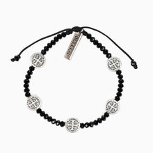 Load image into Gallery viewer, My Saint My Hero Gratitude Crystal Bracelet Black with Silver medal