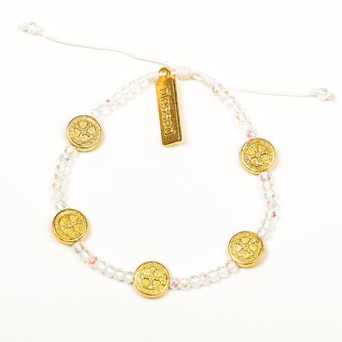 My Saint My Hero Gratitude Crystal Bracelet Crystal with Gold medal