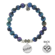 Load image into Gallery viewer, T. Jazelle Indigo Tigers Eye Stone Bracelet with Sister Endless Love Sterling Silver Charm