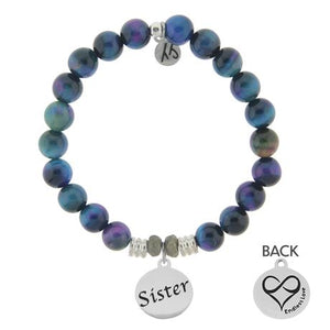 T. Jazelle Indigo Tigers Eye Stone Bracelet with Sister Endless Love Sterling Silver Charm