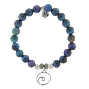 T. Jazelle Indigo Tigers Eye Stone Bracelet with Wave Sterling Silver Charm