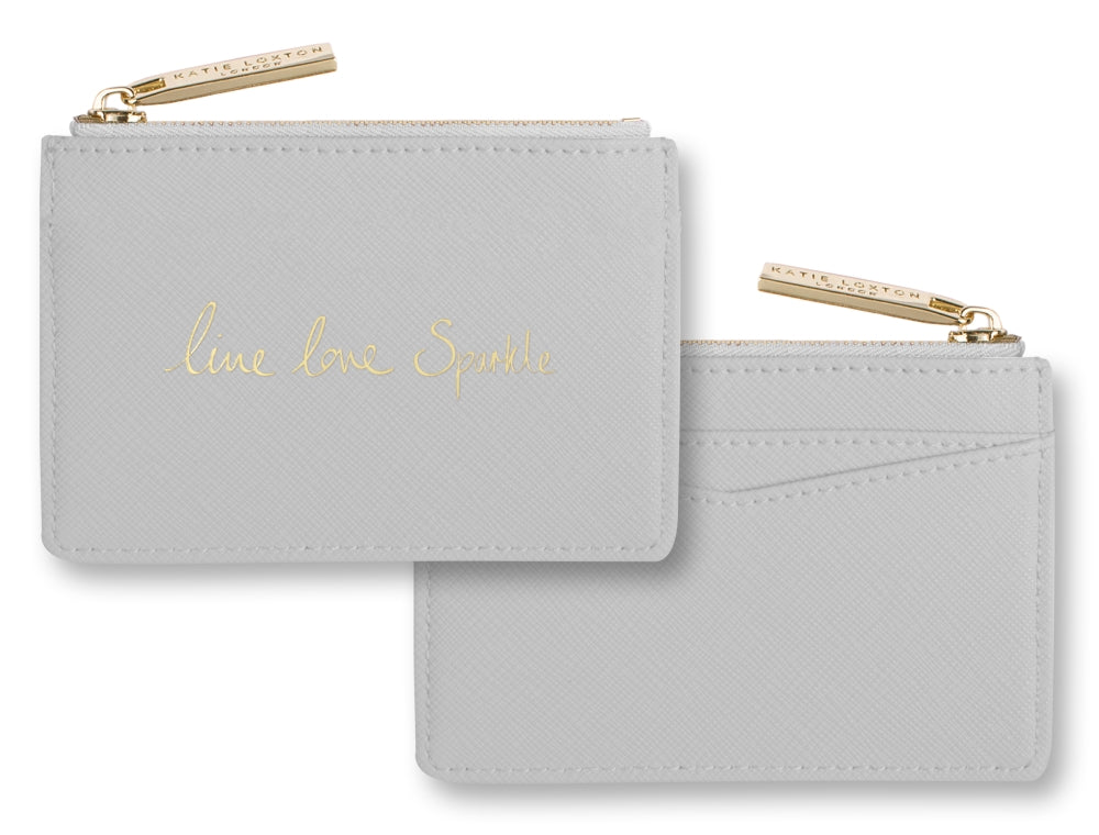 Katie Loxton Card Holder with Zipper - Live Love Sparkle Grey