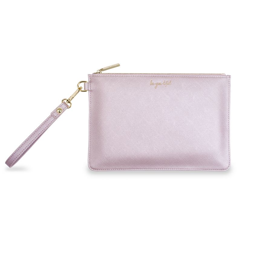 Katie Loxton Secret Message Pouch - Be You Tiful/Be Your Own Kind Of Beautiful Metallic Lilac