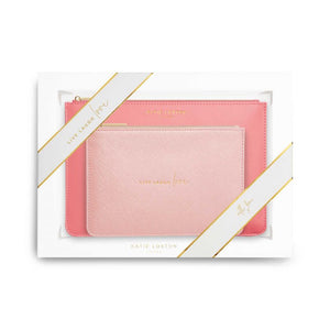 Katie Loxton Perfect Pouch Gift Set - Live Laugh Love | Oyster Pink