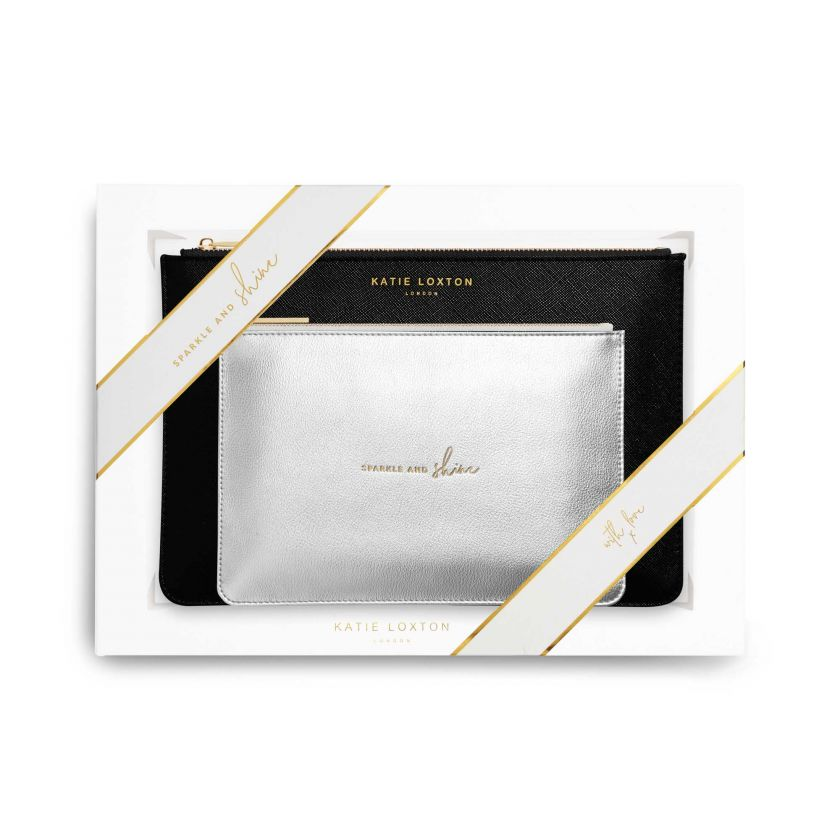 Katie Loxton Perfect Pouch Gift Set -Sparkle and Shine | Black and Metallic Silver