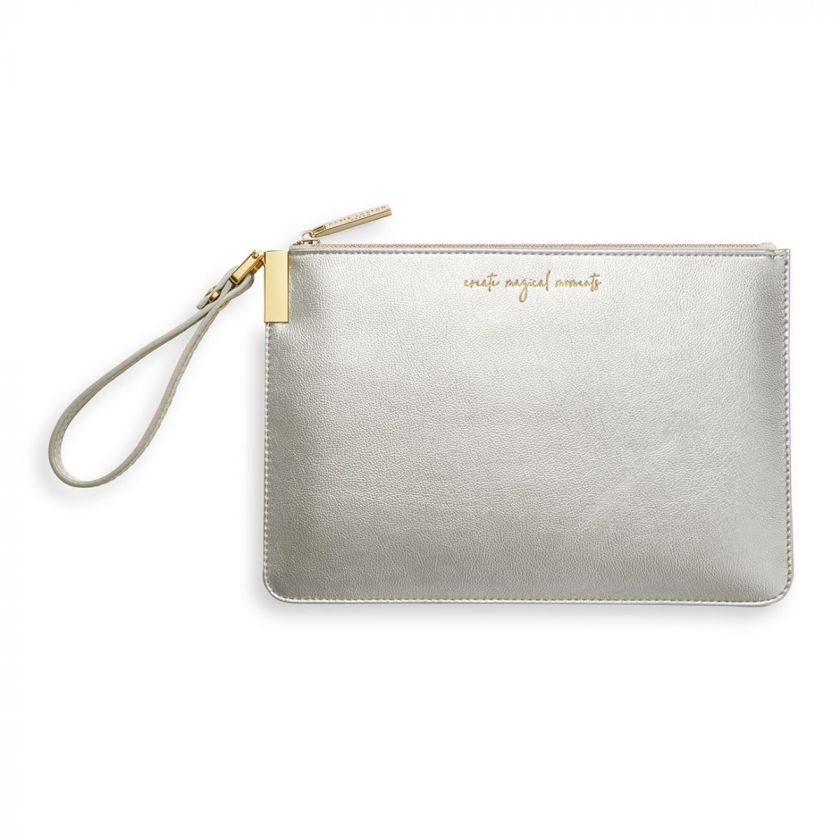 Katie Loxton Secret Message Pouch - Create Magical Moments/There's Always Time To Shine Metallic Silver
