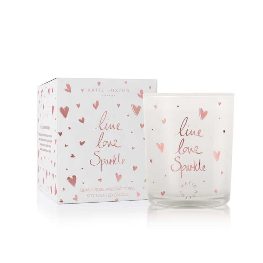 Katie Loxton Live Love Sparkle Candle- Beach Rose and Sweet Pea