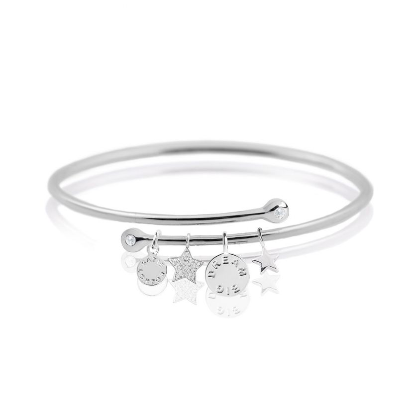 Katie Loxton Story Bangle- Dream Big Silver