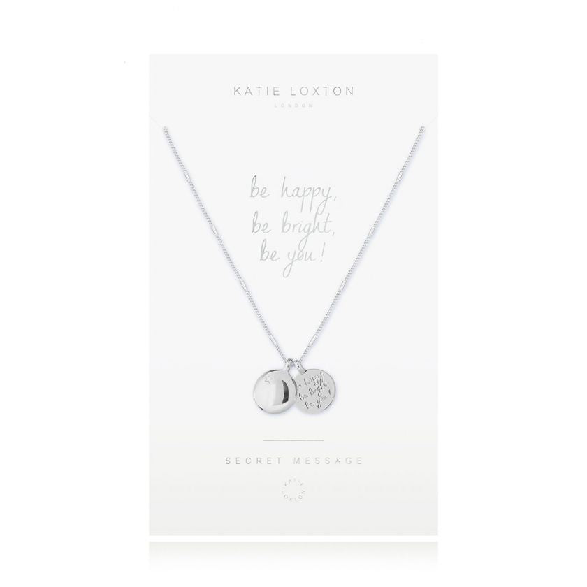 Katie Loxton - Secret Message Necklace - Be Happy, Be Bright, Be You! - Silver Chain and Charms