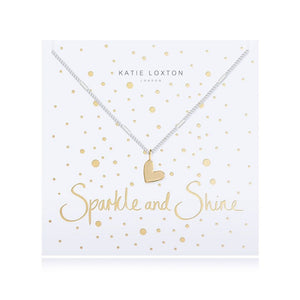 Katie Loxton Sparkle and Shine - Siver Chain Gold Heart Pendant on Foiled card - Necklace