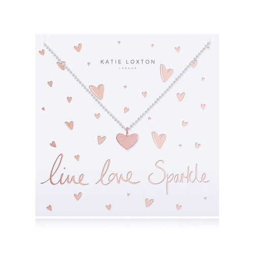 Katie Loxton Live Love Sparkle - Siver Chain Rose Gold Heart Pendant on Foiled card - Necklace