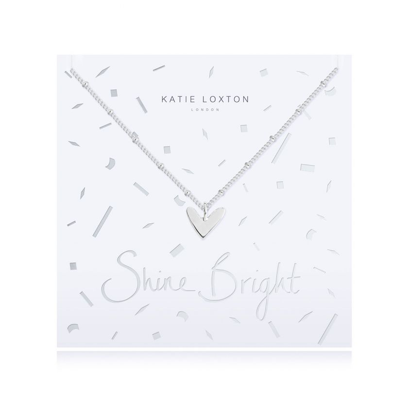 Katie Loxton Shine Bright - Siver Chain Silver Heart Pendant on Foiled card - Necklace